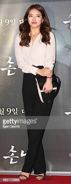 SuZy of Miss A poses for photographs during the movie 'The Guest' VIP premiere at CGV on July 6 2015 in Seoul South Korea