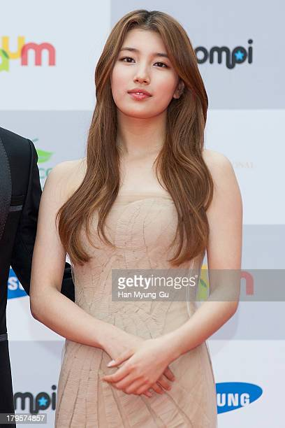Suzy of South Korean girl group Miss A arrives for photographs at the Seoul International Drama Awards 2013 at National Theater on September 5 2013...