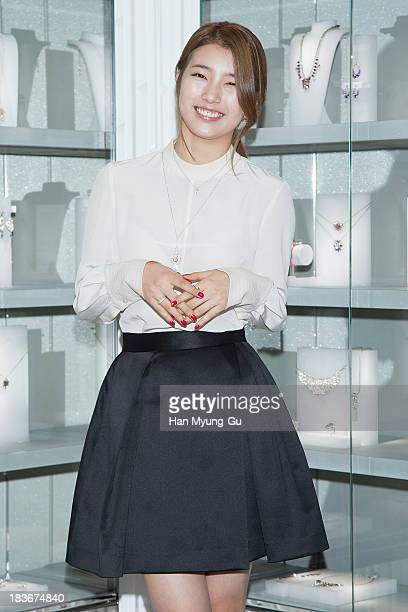 Suzy of South Korean girl group Miss A attends Swarovski Romeo and Juliet Collection launch event at Swarovski Shinsa Store on October 8 2013 in...