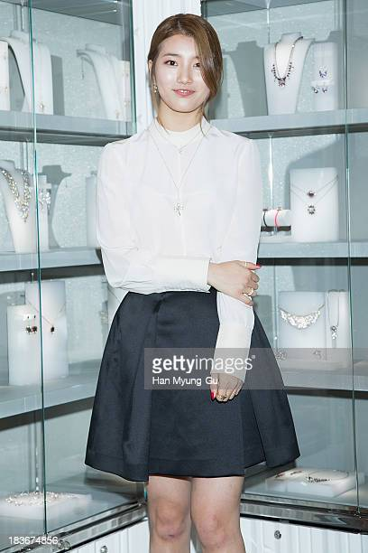 Suzy of South Korean girl group Miss A attends Swarovski 'Romeo and Juliet' Collection launch event at Swarovski Shinsa Store on October 8 2013 in...