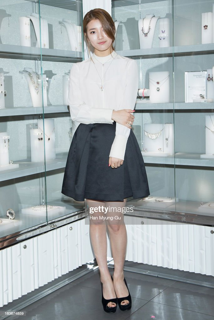 Suzy of South Korean girl group Miss A attends Swarovski 'Romeo and Juliet' Collection launch event at Swarovski Shinsa Store on October 8, 2013 in Seoul, South Korea.