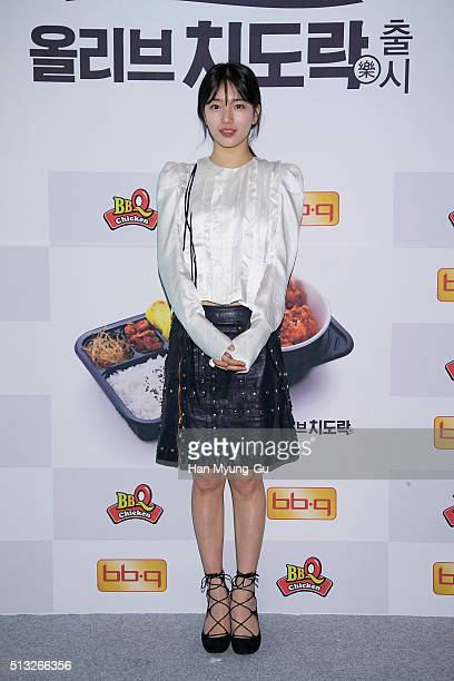 Suzy of South Korean girl group Miss A attends the autograph session for BBQ on February 27 2016 in Seoul South Korea