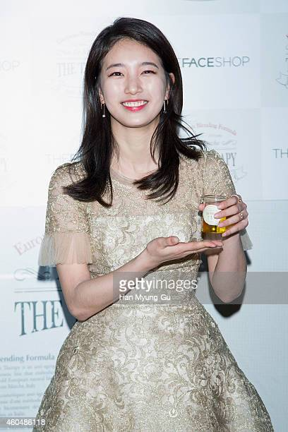 Suzy of South Korean girl group Miss A attends the photo call of the popup store opening for TheFaceShop 'The Therapy Castle' on December 15 2014 in...