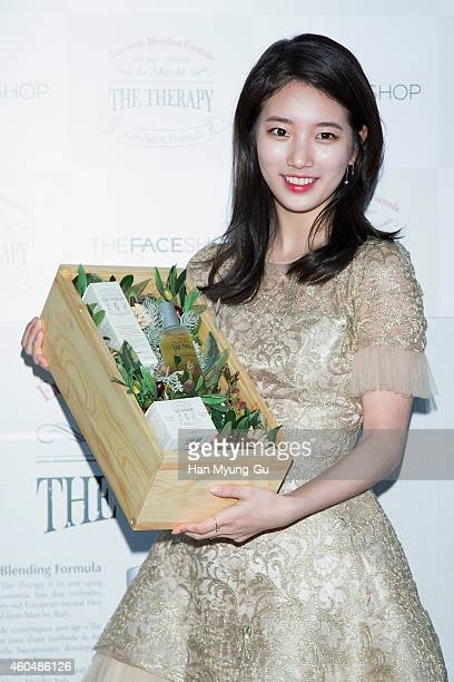 Suzy of South Korean girl group Miss A attends the photo call of the popup store opening for TheFaceShop The Therapy Castle on December 15 2014 in...