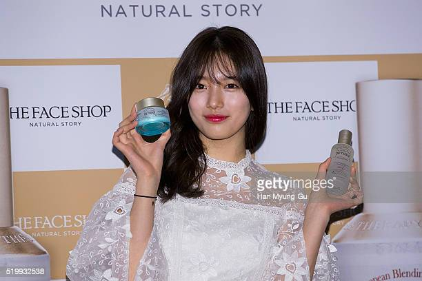Suzy of South Korean girl group Miss A attends the photocall for the launch of TheFaceShop 'The Therapy First Serum And Moisture Blending Formula...