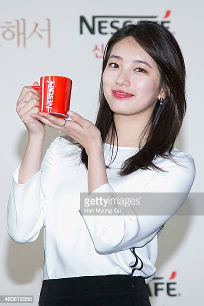 Suzy of South Korean girl group Miss A attends the promotional event for NESCAFE of Nestle Korea on December 17 2014 in Seoul South Korea