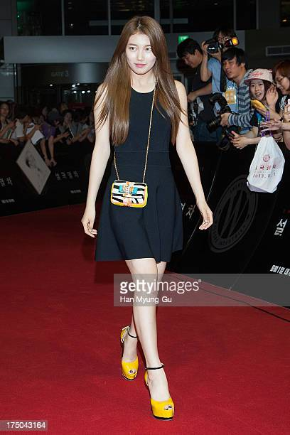Suzy of South Korean girl group Miss A attends the 'Snowpiercer' South Korea premiere at Times Square on July 29, 2013 in Seoul, South Korea. The...