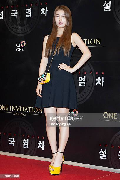 Suzy of South Korean girl group Miss A attends the 'Snowpiercer' South Korea premiere at Times Square on July 29 2013 in Seoul South Korea The film...
