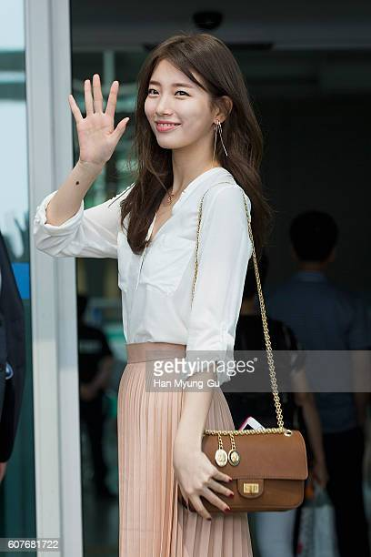 Suzy of South Korean girl group Miss A is seen on departure at the Incheon International Airport on September 12 2016 in Incheon South Korea