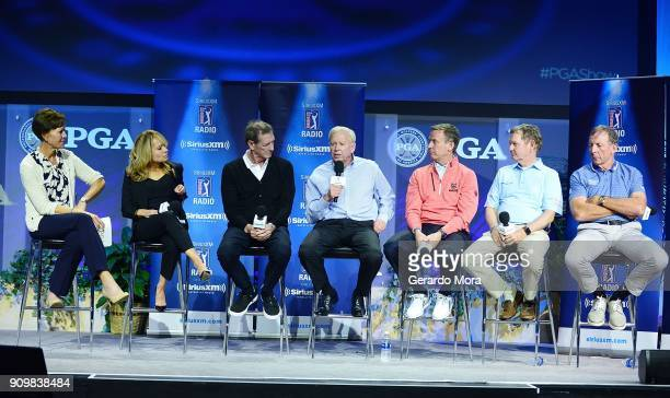 Suzy Whaley Debbie Doniger Hank Haney Jim McLean Michael Breed Larry Rinker and David Leadbetter on SiriusXM's Teachers Town Hall at the PGA...