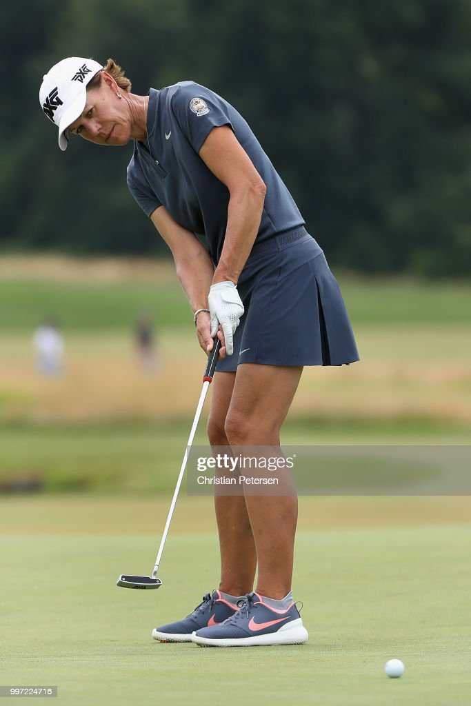 Suzy Whaley putts on the ninth green during the first round of the U.S. Senior Women's Open at Chicago Golf Club on July 12, 2018 in Wheaton, Illinois.