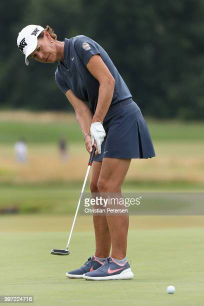 Suzy Whaley putts on the ninth green during the first round of the US Senior Women's Open at Chicago Golf Club on July 12 2018 in Wheaton Illinois