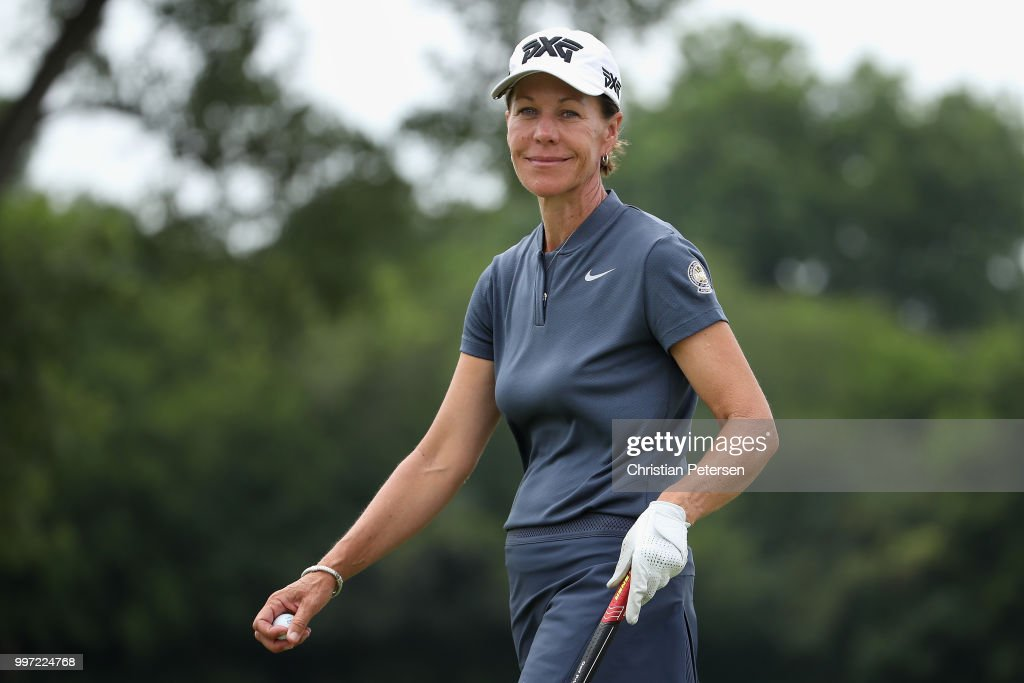 Suzy Whaley reacts to her putt on the ninth green during the first round of the U.S. Senior Women's Open at Chicago Golf Club on July 12, 2018 in Wheaton, Illinois.