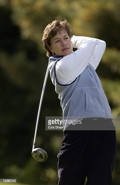 Suzy Whaley swings during a practice round on October 15 2002 at the Blue Fox Run Golf Course in Avon CT
