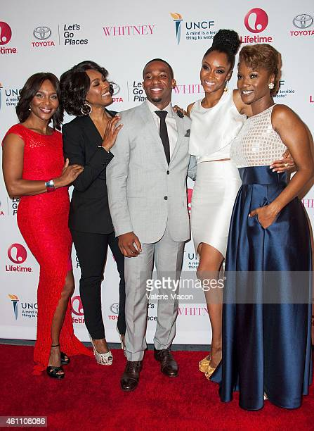 Suzzanne Douglas Angela Bassett Arlen Escarpeta Yaya DaCosta and Yolonda Ross arrive at the Premiere Of Lifetime's 'Whitney' at The Paley Center for...