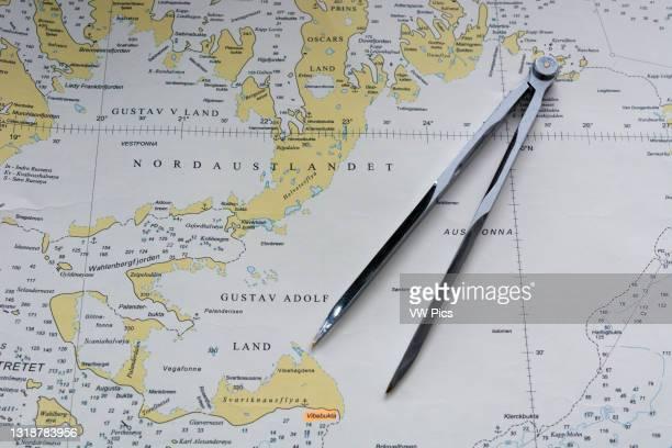 Svalbard Islands maritime map..