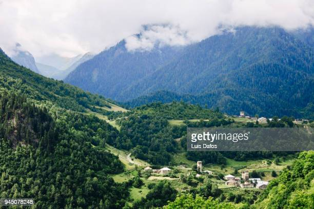Svaneti landscape and village with fortified towers