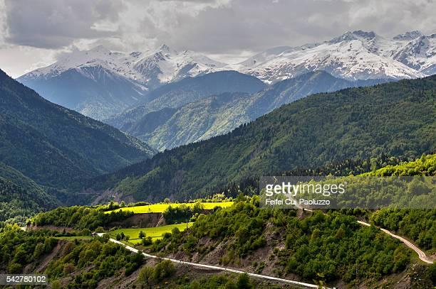 svaneti mountain road at upper svaneti georgia - caucasus stock pictures, royalty-free photos & images