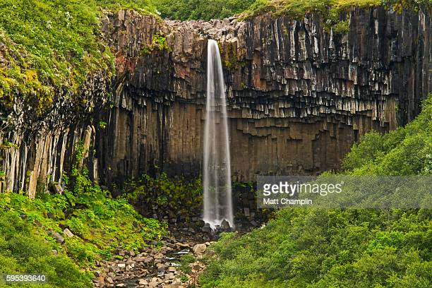 svartifoss waterfall - skaftafell national park stock photos and pictures