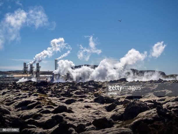 スヴァルスエインギ地熱アイスランドの地熱発電所。この画像はタグ付きの gps - 火力発電所 ストックフォトと画像