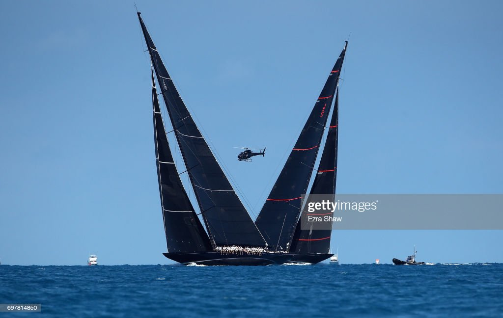 Svea crosses paths with Lionheard during the America's Cup J Class Regatta on June 19, 2017 in Hamilton, Bermuda.