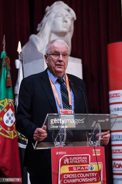 Svein Arne Hansen European Athletics President speak during a press conference ahead of the European Cross Country at the Pacos do Concelho Lisbon...