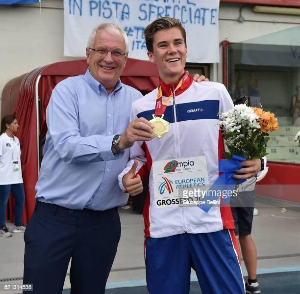 Svein Arne Hansen of Norway President of European Athletics with Jakob Ingebrigtsen of Norway winner of the race of Steeplechase Men during European...