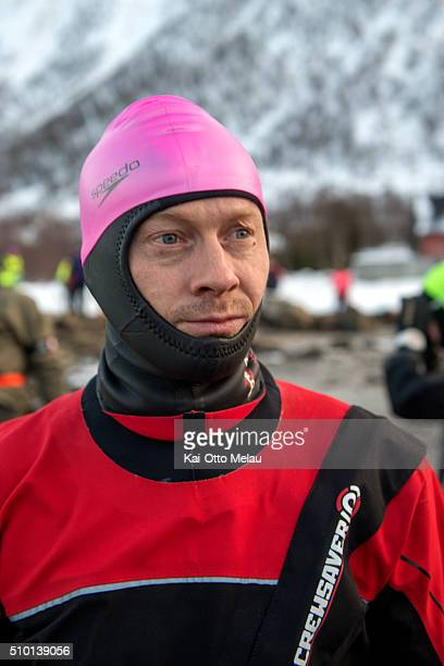 Svein Haavard Aalien is focused on the wimleg on February 13 2016 in Svolvar Norway Athletes choose to swim in a drysuit due to the cold water in the...