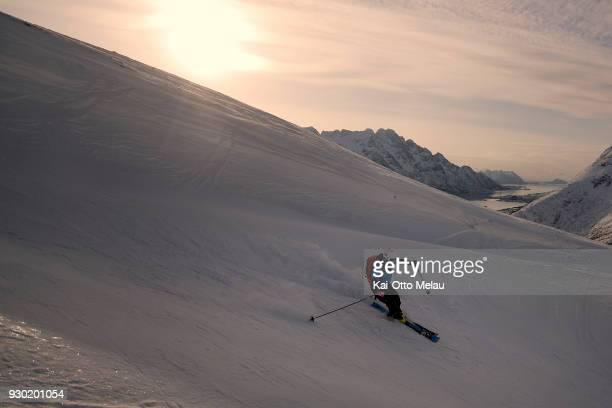 Svein Vestoel at The Arctic Triple Lofoten Skimo on March 10 2018 in Svolvaer Norway Lofoten Skimo is one of three races organized under The Arctic...