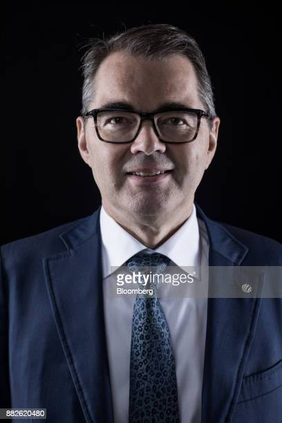 SveinRichardBrandtzaeg chief executive officer of Norsk Hydro ASA poses for a photograph following a Bloomberg Television interview in London UK on...