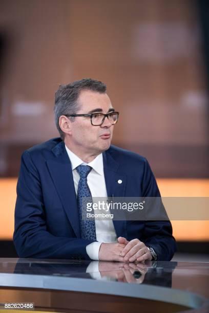 SveinRichardBrandtzaeg chief executive officer of Norsk Hydro ASA speaks during a Bloomberg Television interview in London UK on Thursday Nov 30...