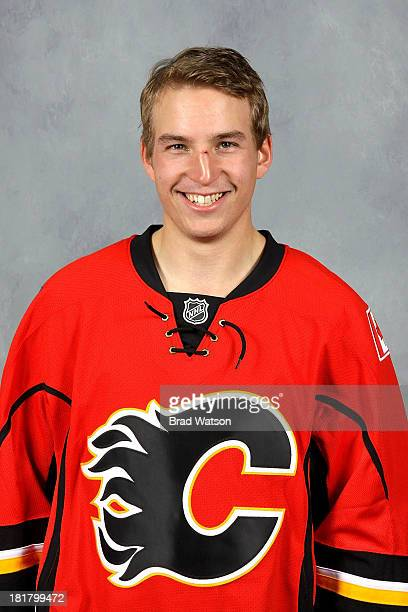 Sven Baertschi of the Calgary Flames poses for his official headshot for the 2013-2014 season on September 12, 2013 at the WinSport Winter Sport...