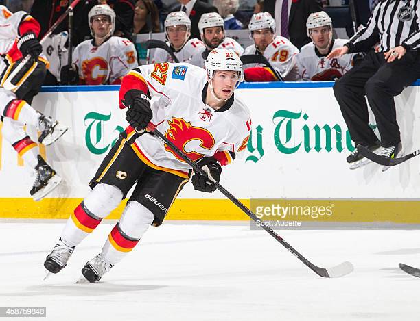 Sven Baertschi of the Calgary Flames skates against the Tampa Bay Lightning at the Amalie Arena on November 6 2014 in Tampa Florida