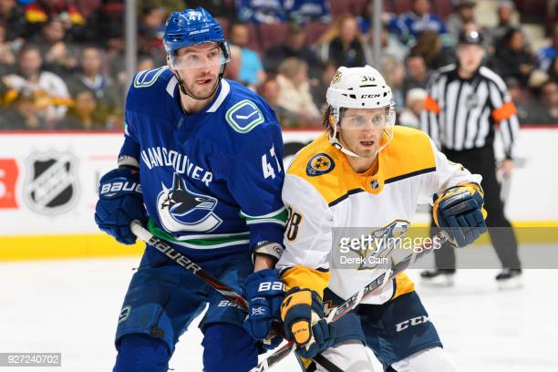 Sven Baertschi of the Vancouver Canucks battles for position with Ryan Hartman of the Nashville Predators during their NHL game at Rogers Arena on...