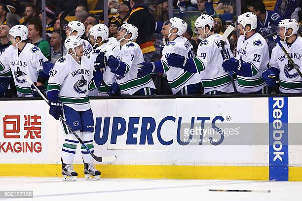 Sven Baertschi of the Vancouver Canucks celebrates after scoring against the Boston Bruins during the first period at TD Garden on January 21 2016 in...