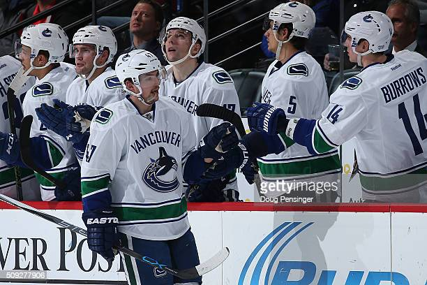 Sven Baertschi of the Vancouver Canucks celebrates his goal against the Colorado Avalanche to take a 21 lead in the second period at Pepsi Center on...