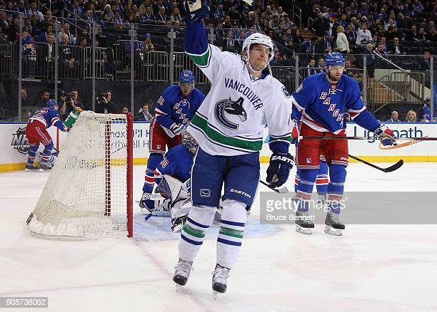 Sven Baertschi of the Vancouver Canucks celebrates his goal at 902 of the first period against the New York Rangers at Madison Square Garden on...