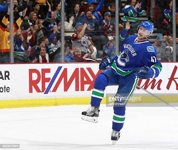 Sven Baertschi of the Vancouver Canucks celebrates his goal during the NHL game between the Colorado Avalanche and the Vancouver Canucks at Rogers...