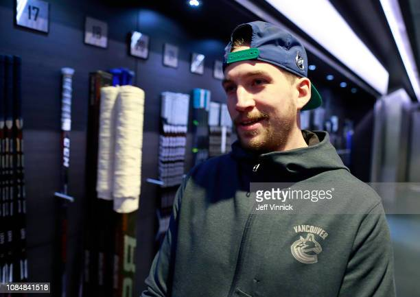 Sven Baertschi of the Vancouver Canucks checks his sticks before their NHL game against the Buffalo Sabres at Rogers Arena January 18, 2019 in...
