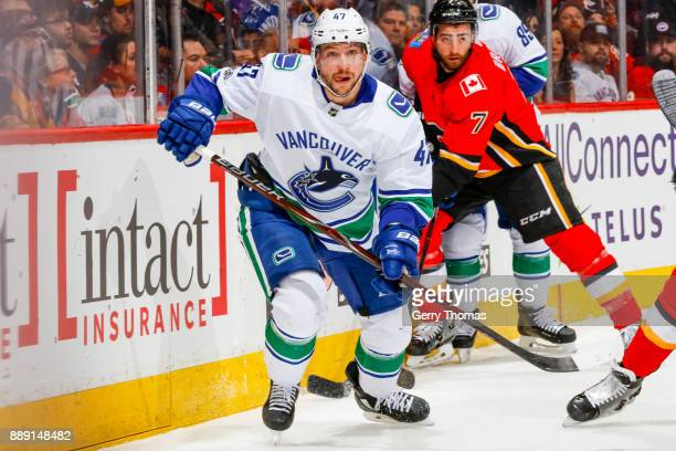 Sven Baertschi of the Vancouver Canucks in a NHL game against the Vancouver Canucks at the Scotiabank Saddledome on December 09 2017 in Calgary...