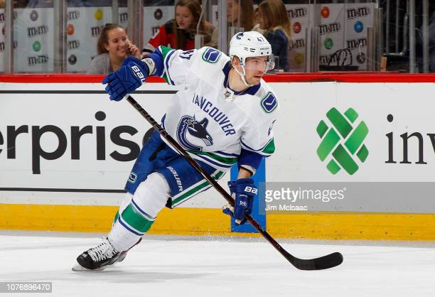 Sven Baertschi of the Vancouver Canucks in action against the New Jersey Devils at Prudential Center on December 31 2018 in Newark New Jersey The...