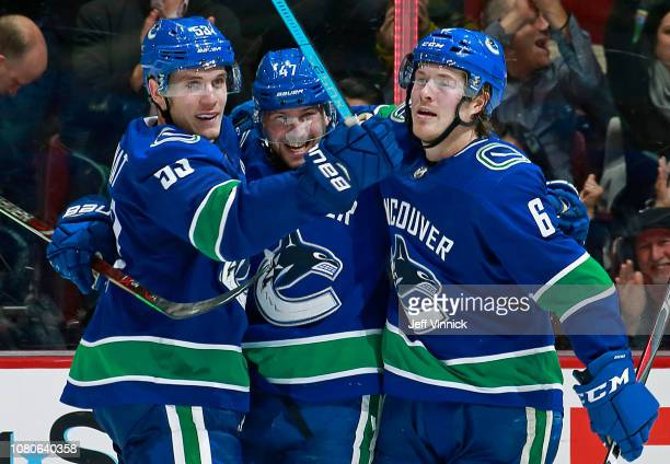 Sven Baertschi of the Vancouver Canucks is congratulated by teammates Bo Horvat and Brock Boeser after scoring during their NHL game at Rogers Arena...