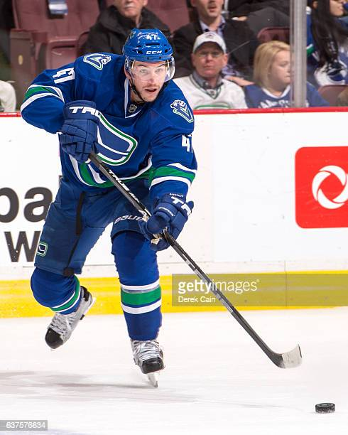 Sven Baertschi of the Vancouver Canucks passes the puck during their NHL game against the Anaheim Ducks at Rogers Arena December 30 2016 in Vancouver...