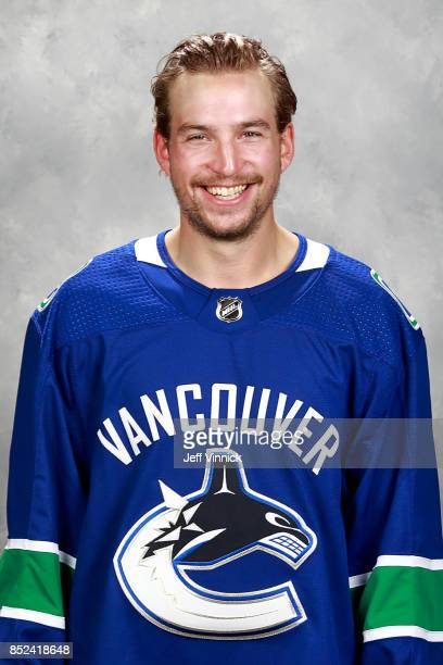Sven Baertschi of the Vancouver Canucks poses for his official headshot for the 20172018 season on September 12 2017 at Rogers Arena in Vancouver...