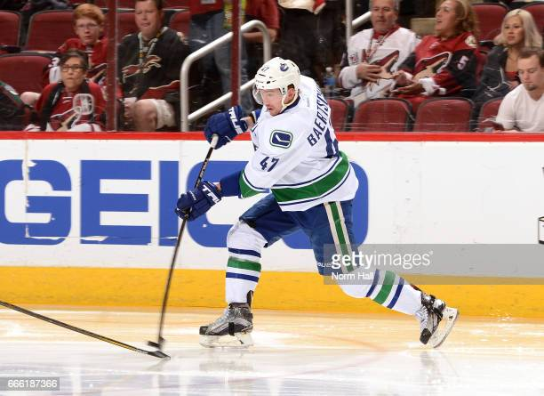 Sven Baertschi of the Vancouver Canucks shoots the puck on net against the Arizona Coyotes at Gila River Arena on April 6 2017 in Glendale Arizona