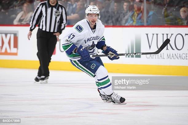 Sven Baertschi of the Vancouver Canucks skates against the Colorado Avalanche at the Pepsi Center on January 25 2017 in Denver Colorado The Canucks...