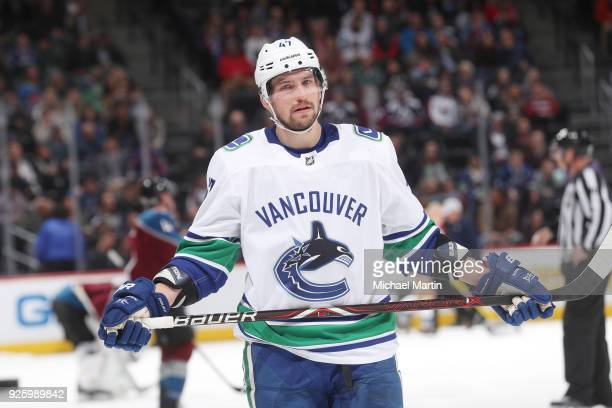 Sven Baertschi of the Vancouver Canucks skates against the Colorado Avalanche at the Pepsi Center on February 26, 2018 in Denver, Colorado. The...