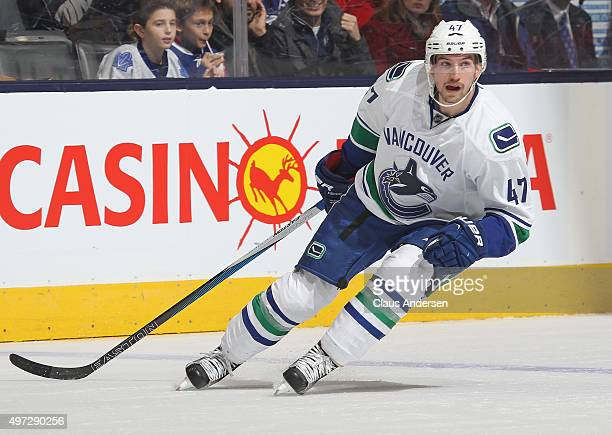 Sven Baertschi of the Vancouver Canucks skates against the Toronto Maple Leafs during an NHL game at the Air Canada Centre on November 14 2015 in...