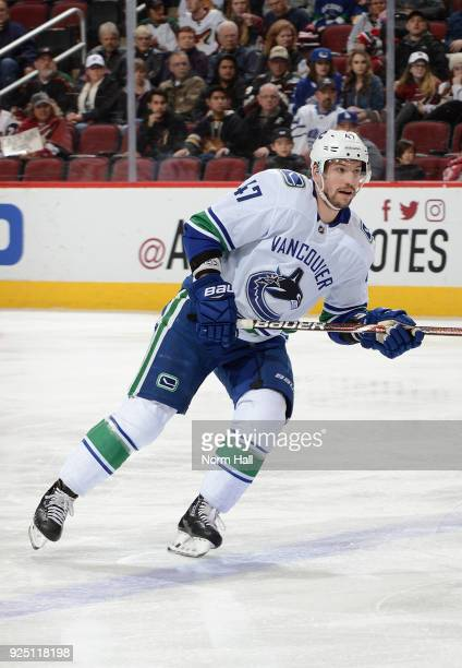 Sven Baertschi of the Vancouver Canucks skates up ice against the Arizona Coyotes at Gila River Arena on February 25 2018 in Glendale Arizona