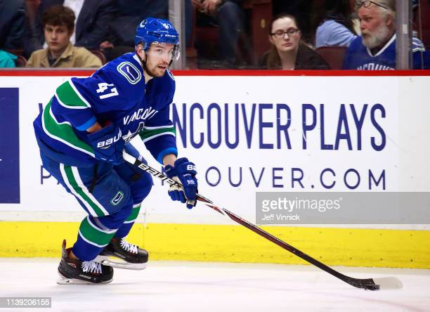Sven Baertschi of the Vancouver Canucks skates up ice during their NHL game against the Anaheim Ducks at Rogers Arena March 26, 2019 in Vancouver,...